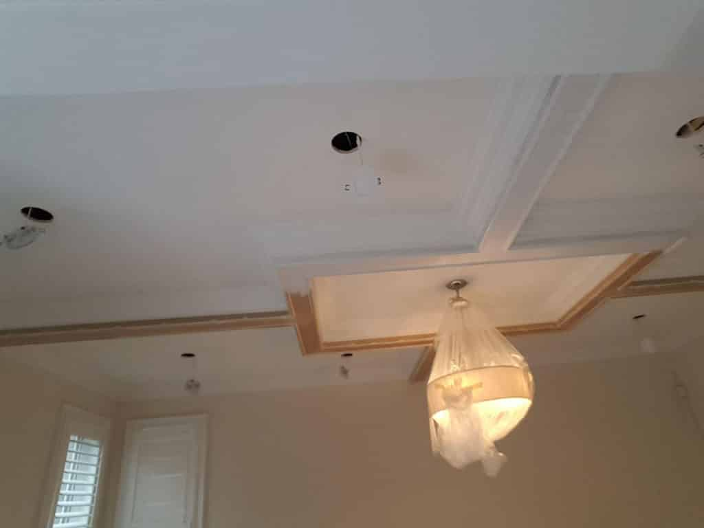 Before Potlights & Coffered Ceiling